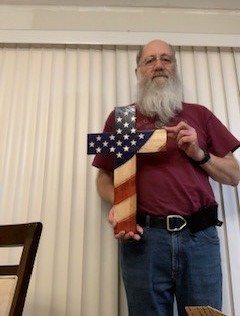 Larry Schmitt American Flag Cross