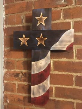Rustic American Flag Cross